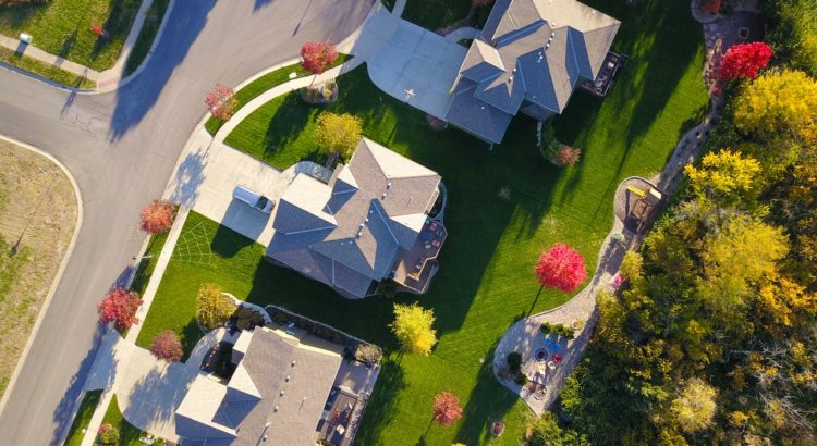 Aerial shot of houses